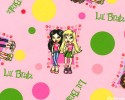Lil Bratz girls with polkadots and paw prints on pink background