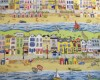 Seaside - Beach Huts, Sailing Boats, Seagulls - Bright Colours